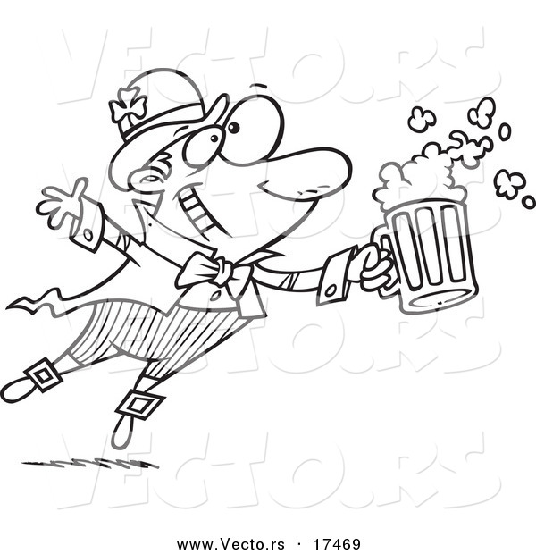 Vector of a Cartoon Toasting Leprechaun - Coloring Page Outline