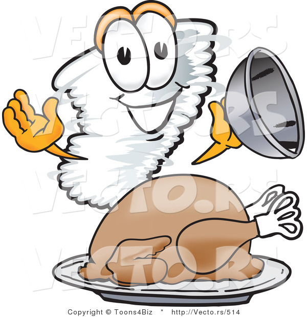 Vector of a Cartoon Tornado Mascot Beside a Thanksgiving Turkey