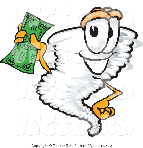 Vector of a Cartoon Tornado Mascot Holding Money