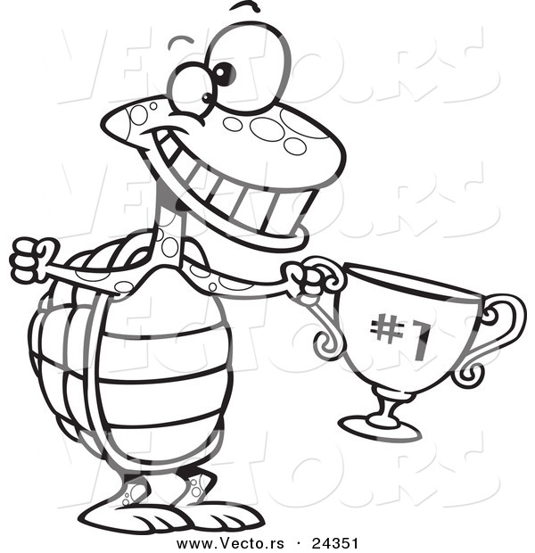 Vector of a Cartoon Tortoise Champ with a Trophy - Outlined Coloring Page