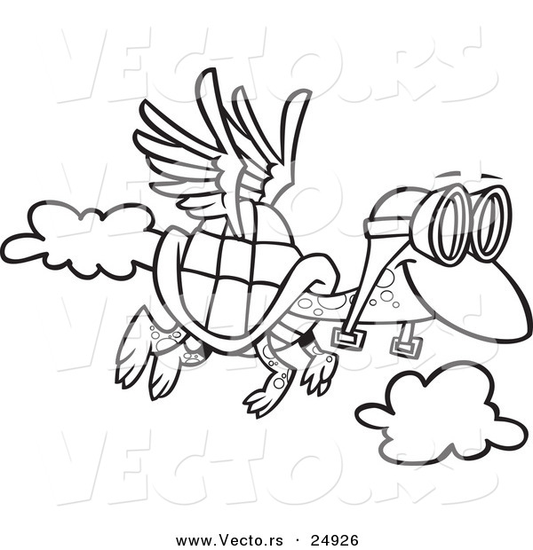 Zoella Line Drawing : Vector of a cartoon tortoise flying with pilot goggles