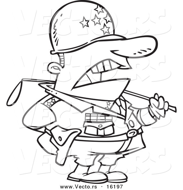 Vector of a Cartoon Tough Military General - Outlined Coloring Page Drawing