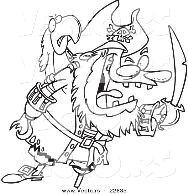 Vector of a Cartoon Tough Pirate and Bird - Coloring Page Outline