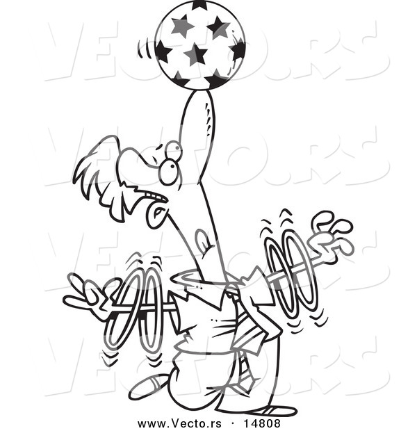 Vector of a Cartoon Trained Businessman Spinning Rings on His Arms and Balancing a Ball on His Nose - Coloring Page Outline