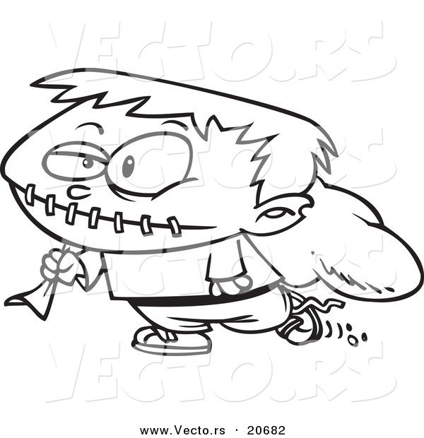 Vector of a Cartoon Trick or Treating Frankenstein Boy - Coloring Page Outline