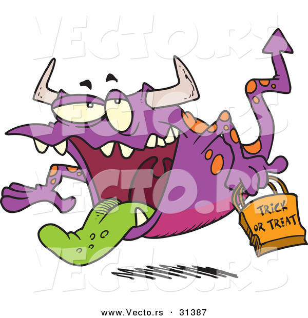 Vector of a Cartoon Trick-or-Treating Purple Halloween Monster