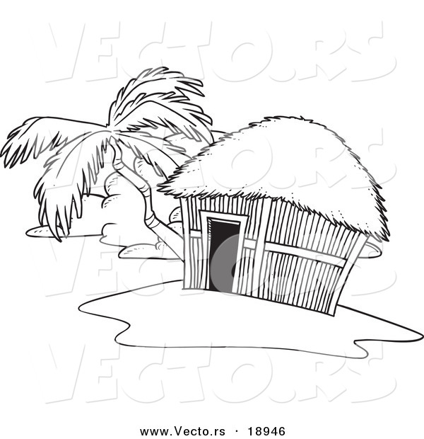 Vector of a Cartoon Tropical Hut on an Island - Outlined Coloring Page