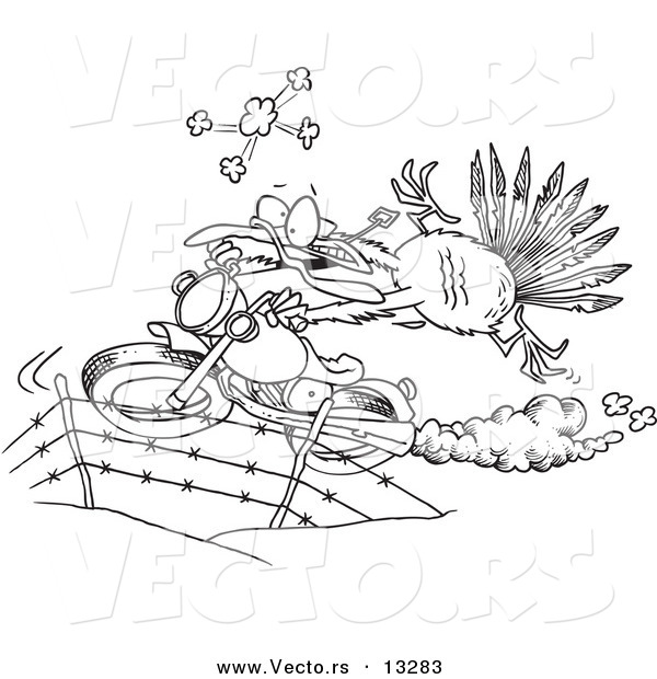 Vector of a Cartoon Turkey Bird Escaping on a Motorcycle - Coloring Page Outline