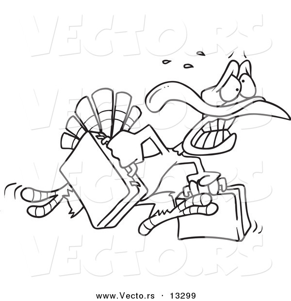 Vector of a Cartoon Turkey Bird Running in Panic with Luggage - Coloring Page Outline