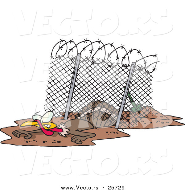 Vector of a Cartoon Turkey Escaping Under a Fence