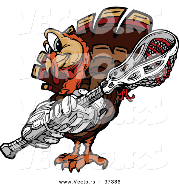 Vector of a Cartoon Turkey Mascot Holding a Lacrosse Stick