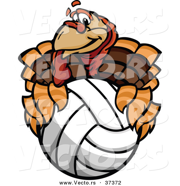 Vector of a Cartoon Turkey Mascot Holding a Volleyball