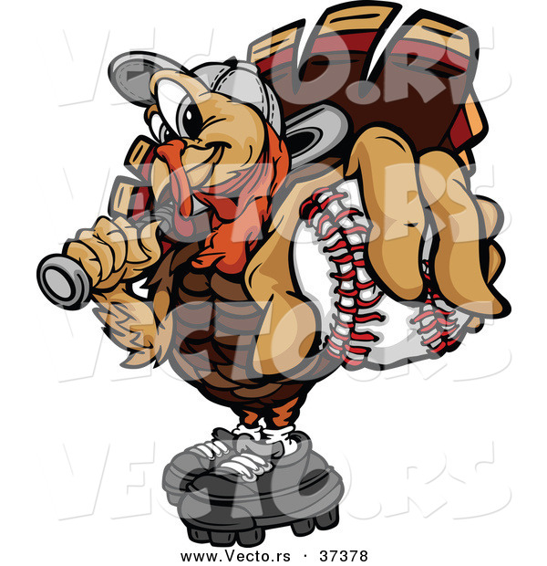 Vector of a Cartoon Turkey Mascot Holding out a Baseball