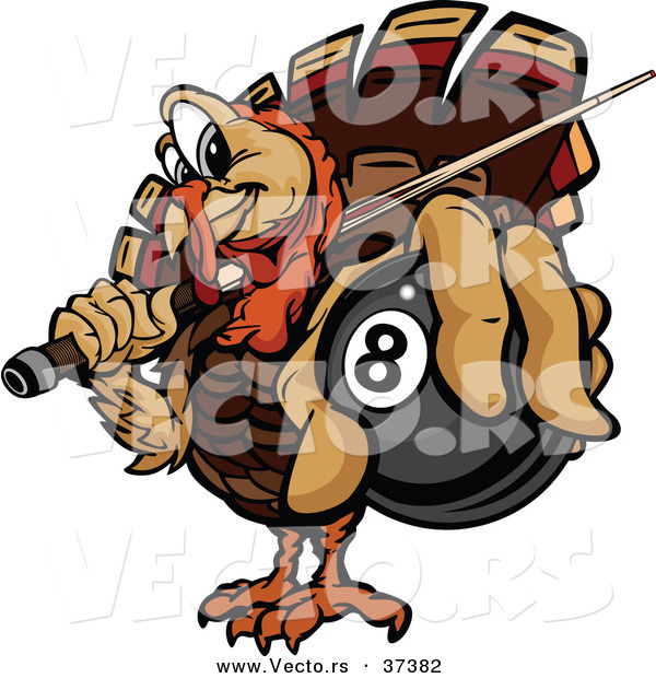 Vector of a Cartoon Turkey Mascot Holding out a Billiards Eight Ball