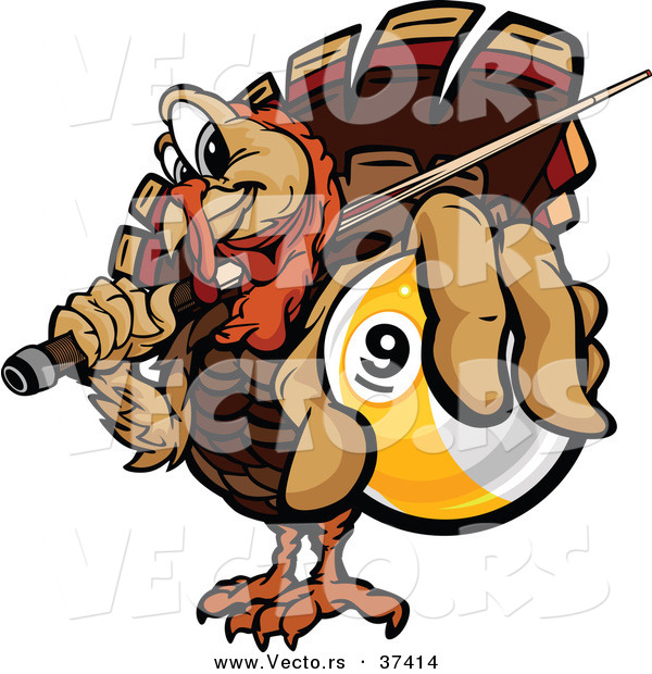 Vector of a Cartoon Turkey Mascot Holding out a Billiards Nine Ball