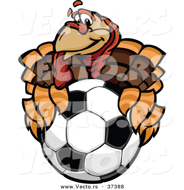 Vector of a Cartoon Turkey Mascot Holding out a Soccer Ball