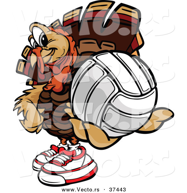 Vector of a Cartoon Turkey Mascot Holding out a Volleyball