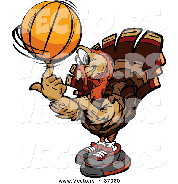 Vector of a Cartoon Turkey Mascot Spinning a Basketball