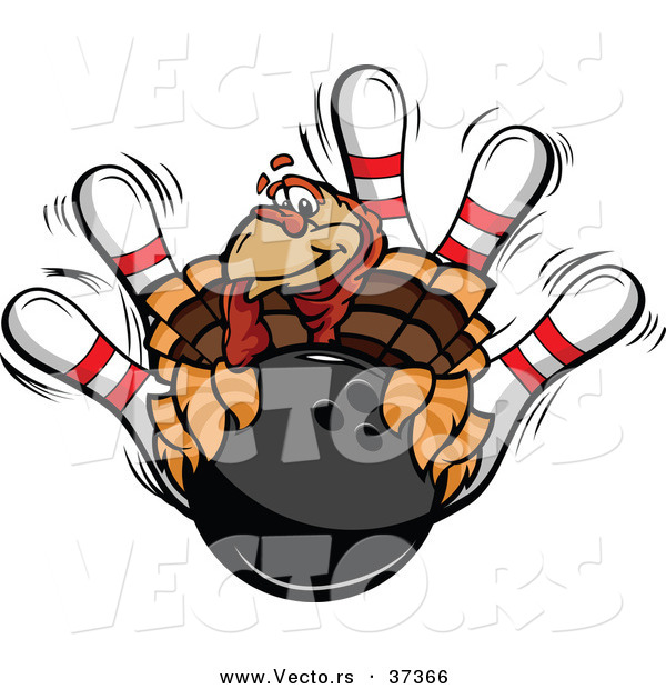Vector of a Cartoon Turkey Mascot with a Bowling Ball and Pins