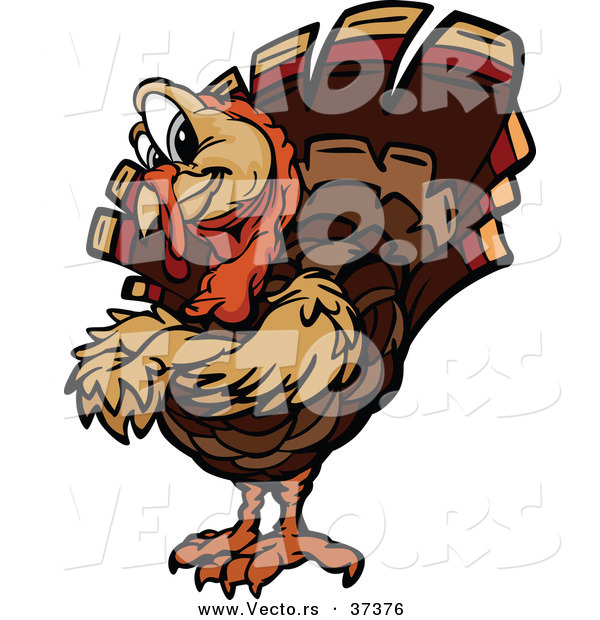 Vector of a Cartoon Turkey Mascot with Folded Arms