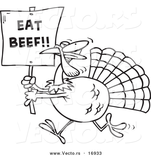 Vector of a Cartoon Turkey with an Eat Beef Sign - Coloring Page Outline