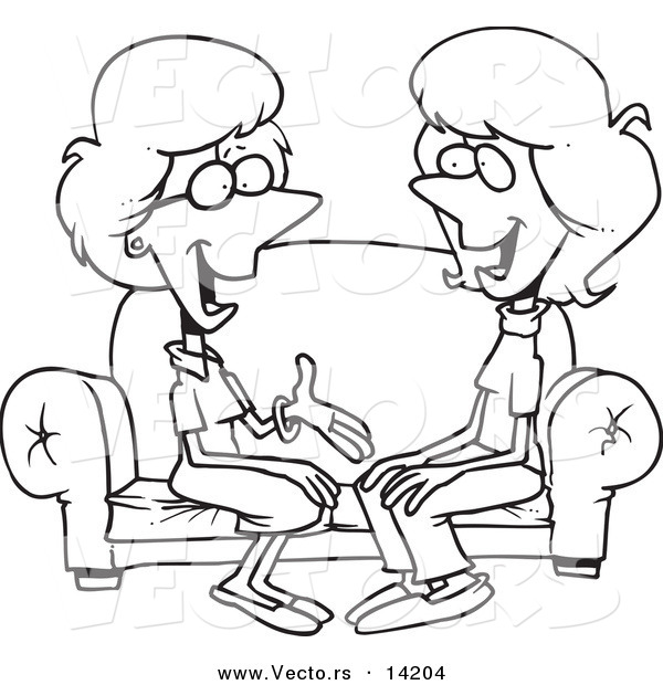 Vector of a Cartoon Two Talkative Women Sitting on a Sofa - Coloring Page Outline