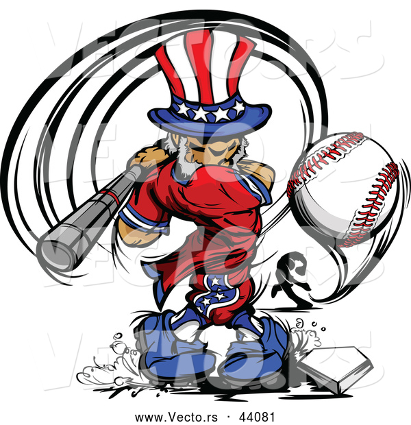 Vector of a Cartoon Uncle Sam Hitting a Home Run Baseball