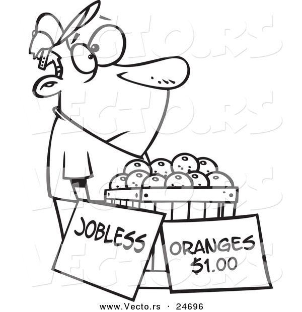 Vector of a Cartoon Unemployed Man Trying to Sell Oranges - Outlined Coloring Page