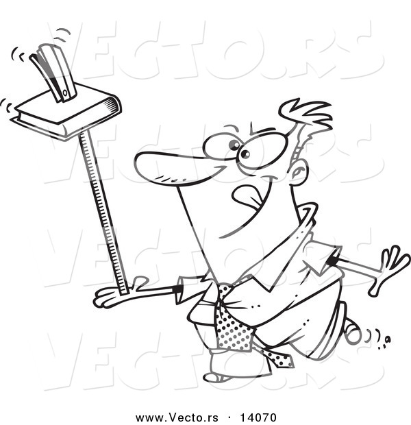 Vector of a Cartoon Unproductive Businessman Balancing a Book and Stapler on a Ruler - Coloring Page Outline
