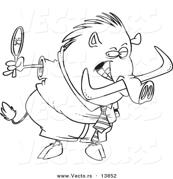 Vector of a Cartoon Vain Boar Looking in a Mirror - Coloring Page Outline