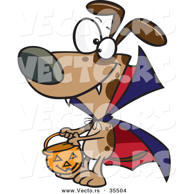 Vector of a Cartoon Vampire Dog Trick-or-Treating on Halloween