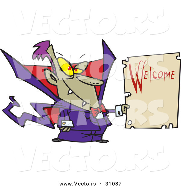 Vector of a Cartoon Vampire Holding Welcome Sign for Halloween