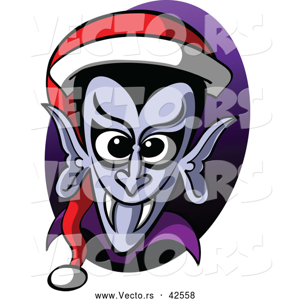 Vector of a Cartoon Vampire Wearing Santa Hat