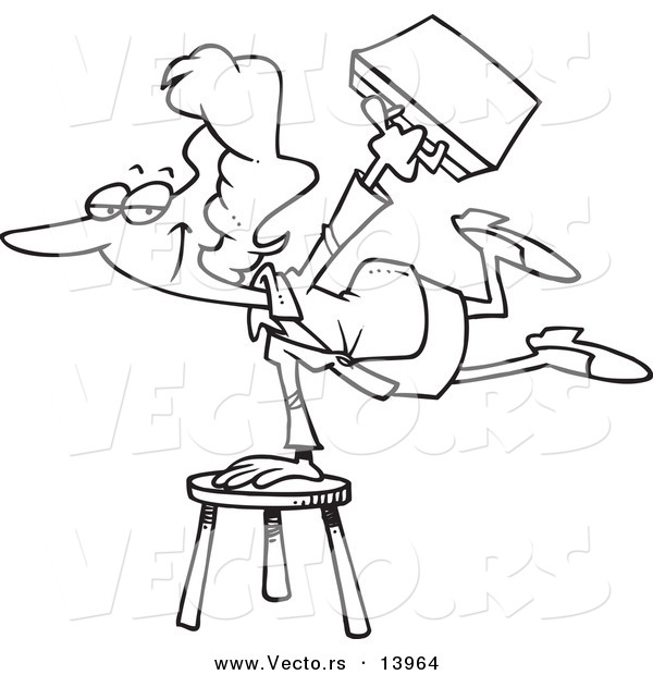 Vector of a Cartoon Versatile Businesswoman Balancing on a Stool - Coloring Page Outline
