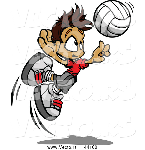 Vector of a Cartoon Volleyball Boy Jumping to Hit the Ball