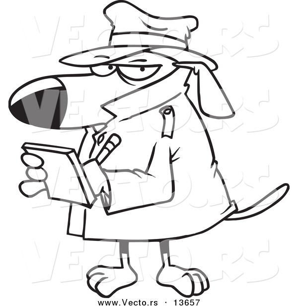 Vector of a Cartoon Watch Dog Detective Taking Notes - Coloring Page Outline