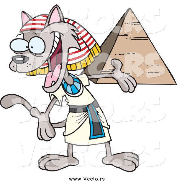 Vector of a Cartoon Welcoming Egyptian Cat Presenting a Pyramid