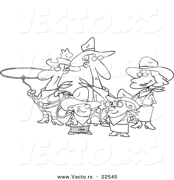 Vector of a Cartoon Western Cowboy Family - Coloring Page Outline