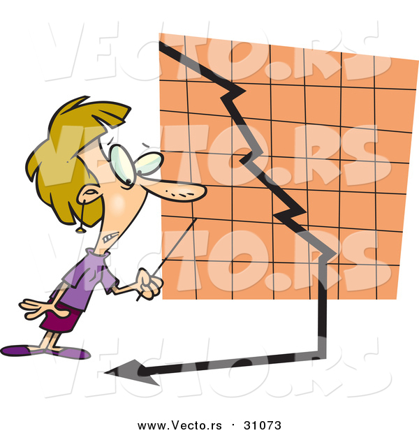 Vector of a Cartoon White Blond Businesswoman Watching a down Turn Arrow