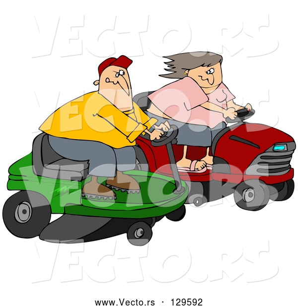 Vector of a Cartoon White Couple, a Guy and Lady, Racing Eachother on Riding Lawn Mowers
