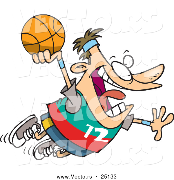 Vector of a Cartoon White Man Flying with Basketball