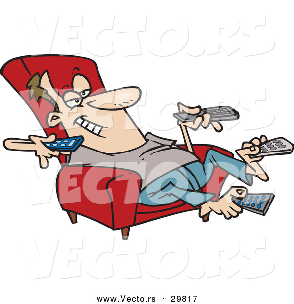 Vector of a Cartoon White Man Sitting in a Recliner and Holding Many Remote Controls