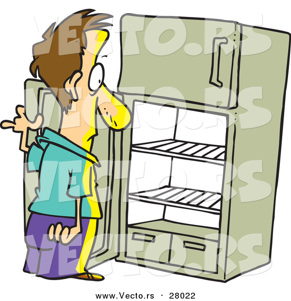 Vector of a Cartoon White Man Staring in an Empty Fridge