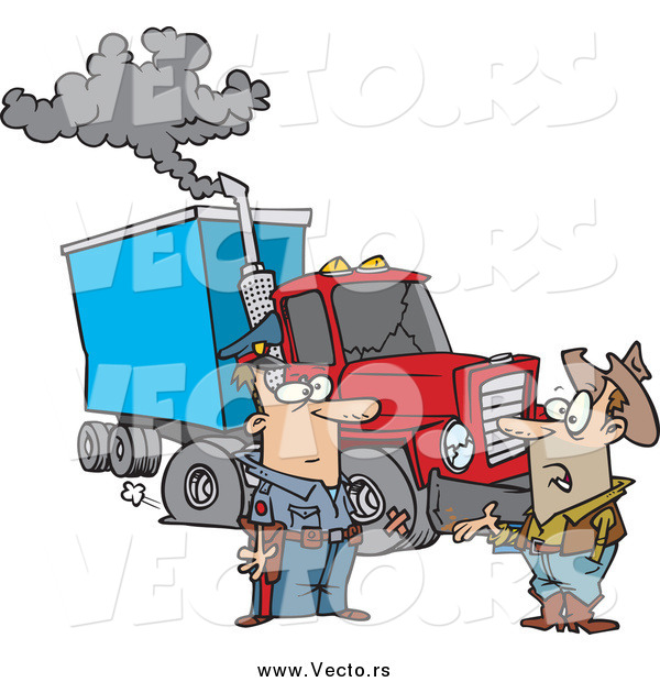 Vector of a Cartoon White Police Man Assisting a Trucker with a Broken down Rig