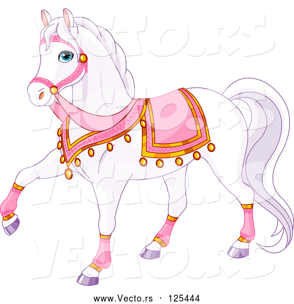 Vector of a Cartoon White Princess Horse with Pink Gear