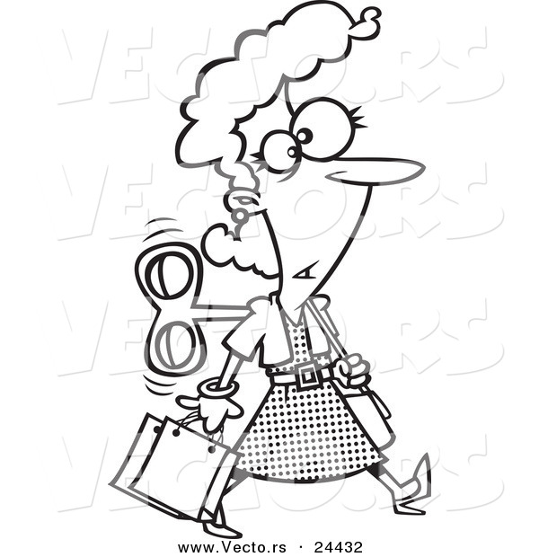 Vector of a Cartoon Wind up Woman Shopping on Auto Pilot - Outlined Coloring Page