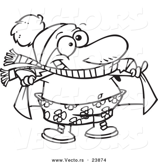 Vector of a Cartoon Winter Guy Soaking up the Sunshine - Coloring Page Outline