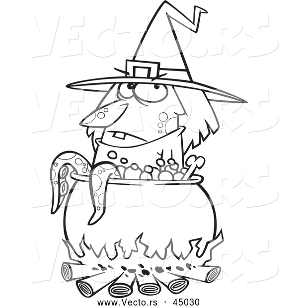 Vector of a Cartoon Witch Beside a Boiling Cauldron Cooking Tentacles - Outline