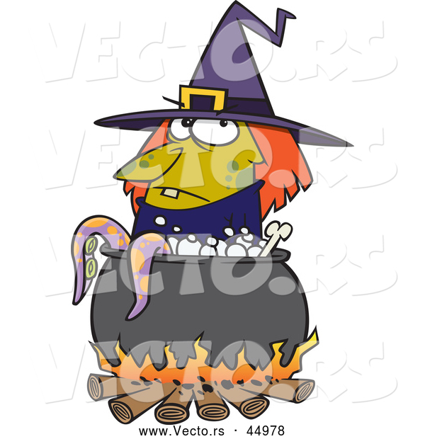 Vector of a Cartoon Witch Boiling Tentacles in a Cauldron