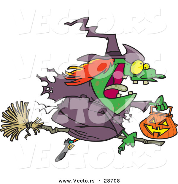 Vector of a Cartoon Witch Flying on Broom with Pumpkin Container During Halloween